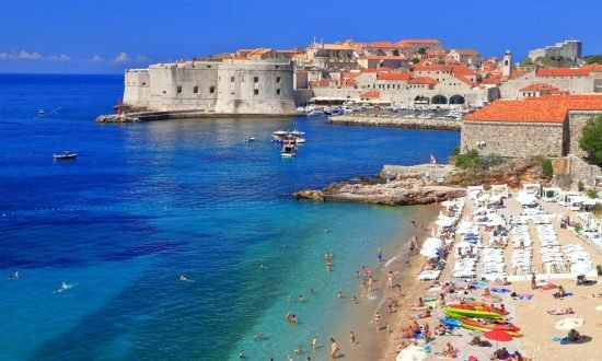 beach and town edge in croatia