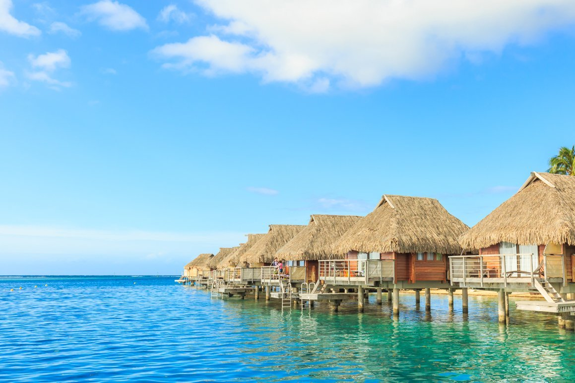 bungalows on the water in Tahiti