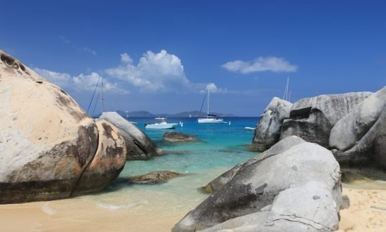 the beach of the virgin gorda at the end of the baths