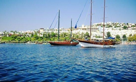 boats off the coast of greece