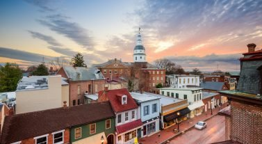 old town annapolis at sunset