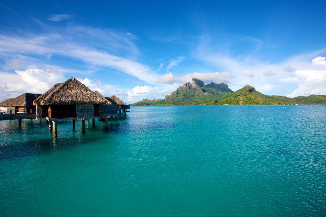 bungalows in the famous lagoon of Bora Bora