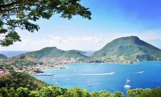 view of terre de haut coast line and caribbean sea