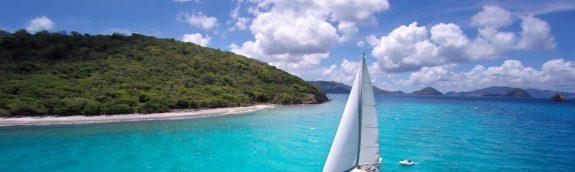 aerial of sailboat under full sail in Caribbean Sea BVI
