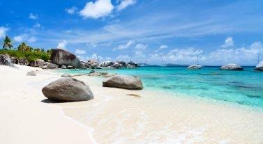 Virgin Gorda white sand beach in BVI