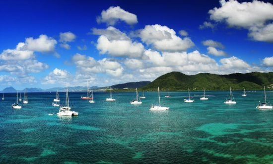 boats anchored in the harbor of Le Marin Martinique