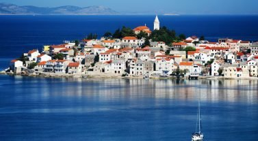 Sailboat approaching the Dalmatian coast of Croatia