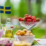 table setting of meal for midsummer