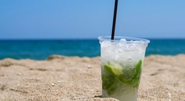 Mojito in the sand of the beach