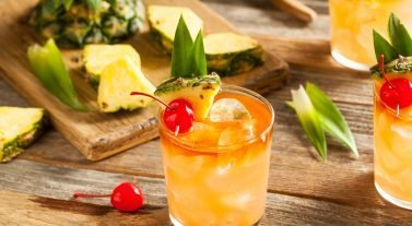 Mai Tai on a table with ingredients