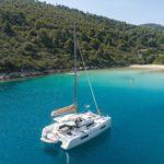 boat sailing near island