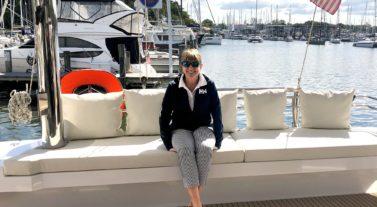 Christine on stern of boat