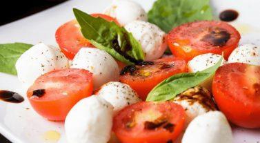 fresh mediterranean food tomato cheese basil