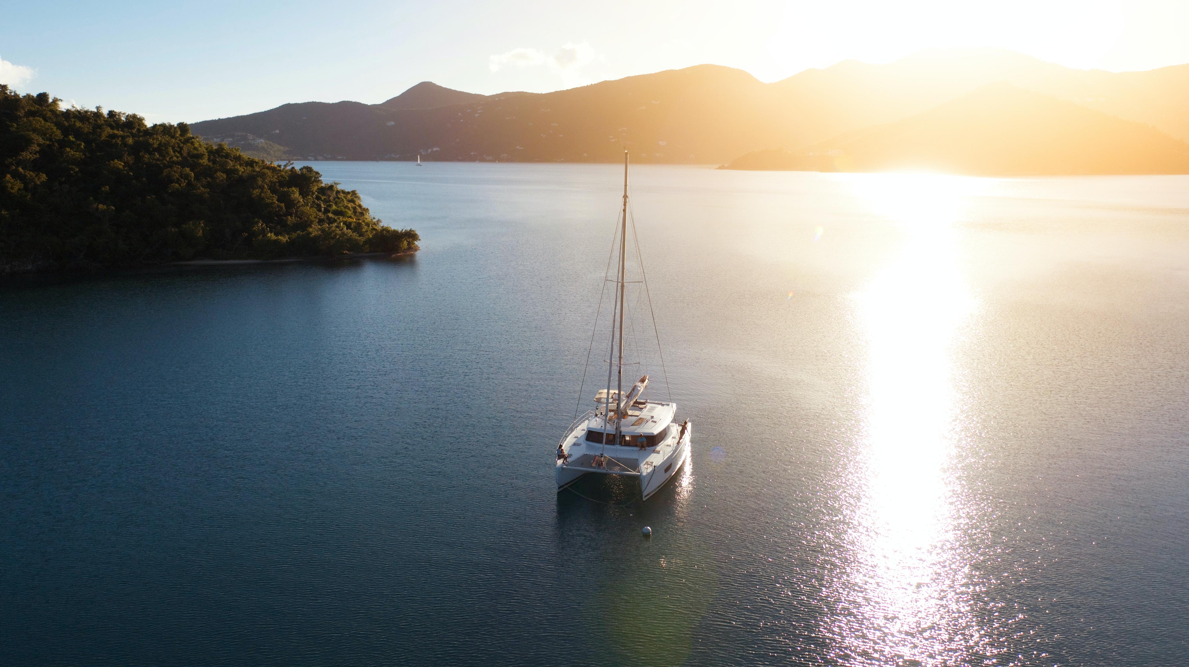 yacht in quiet bay US Virgin Islands