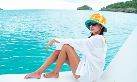 Woman on deck yacht Antigua